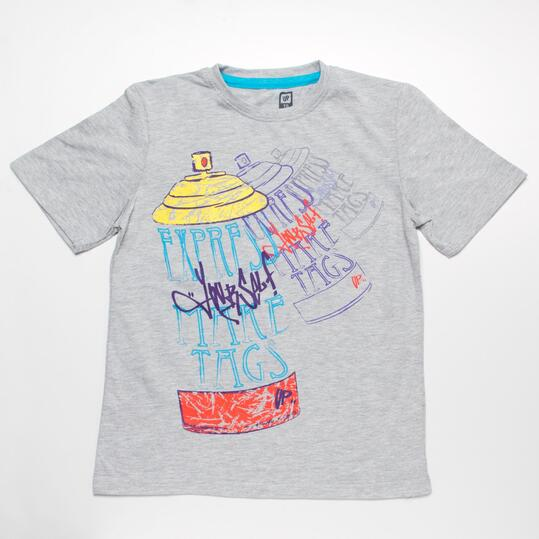 Camiseta Manga Corta UP STAMPS Gris Niño (10-16)