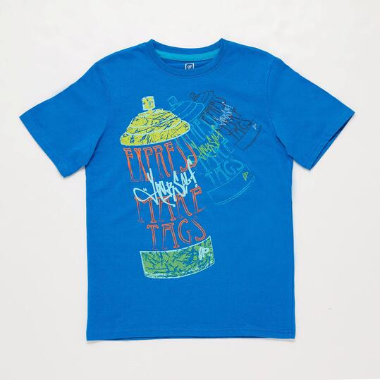 Camiseta Manga Corta UP STAMPS Azul Niño (10-16)