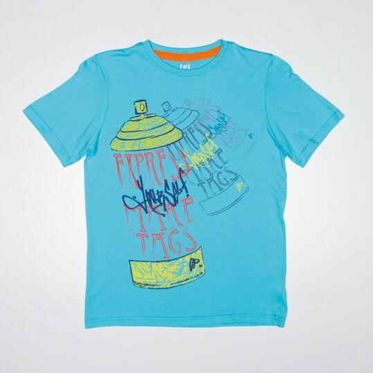 Camiseta Manga Corta UP STAMPS Celeste Niño (10-16)