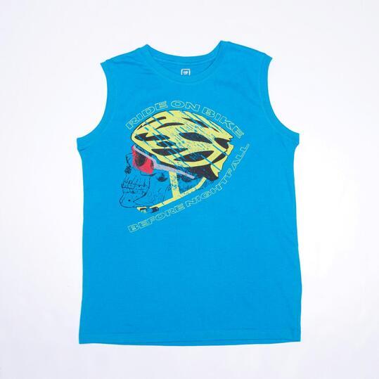 Camiseta Sin Mangas UP STAMPS Azul Niño (10-16)