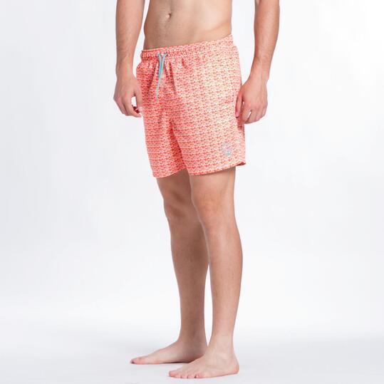 Bañador Corto SILVER Semicírculos Coral Hombre