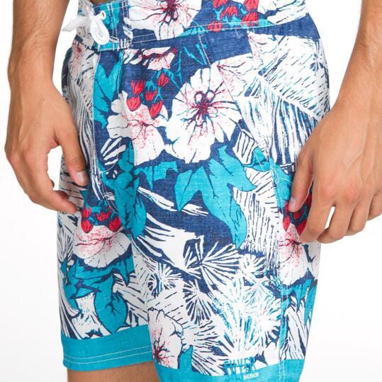 Bañador Corto SILVER Azul Flores