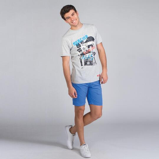 Camiseta Manga Corta SILVER STAMPS Gris Claro Hombre