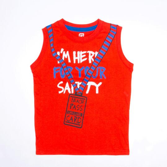 Camiseta Sin Mangas UP STAMPS Rojo Niño (2-8)