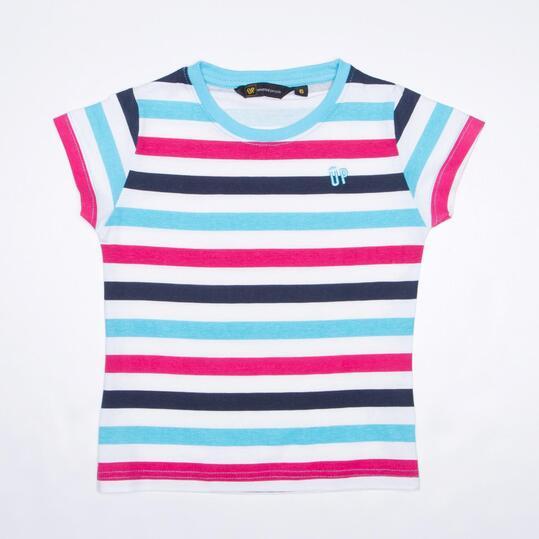 Camiseta Rayas UP Celeste Niña (2-8)