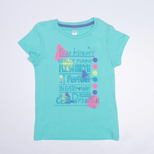 Camiseta Básica UP STAMPS Turquesa Niña