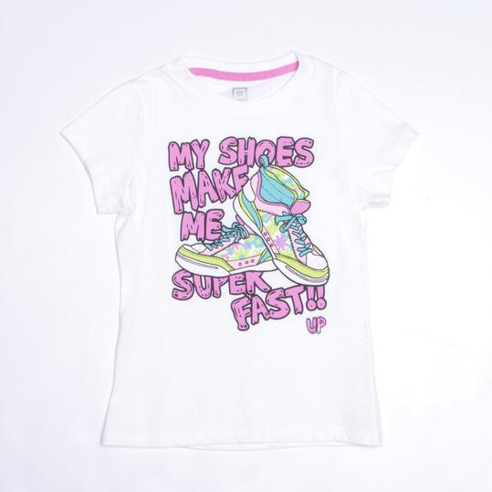 Camiseta Básica UP STAMPS Blanco Niña