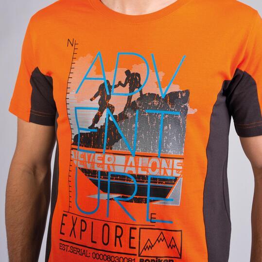 Camiseta Montaña BORIKEN Naranja Gris Hombre