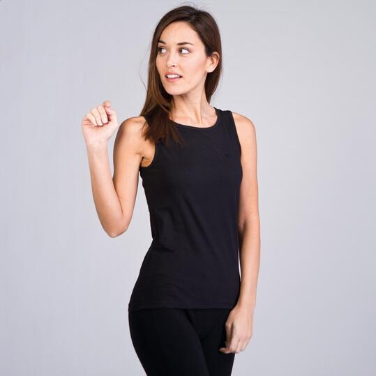 Camiseta Sin Manga UP BASICS  Negro Mujer