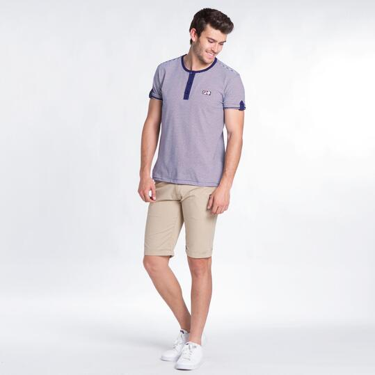 FILA Camiseta Rayas Blanco Marino Hombre