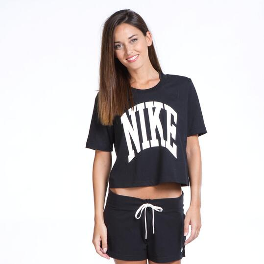NIKE Camiseta Corta Negra Mujer