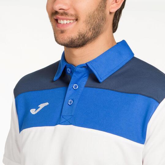 JOMA CREW Polo Tenis Blanco Azul Hombre