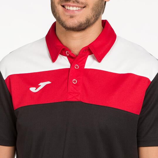 JOMA CREW Polo Tenis Negro Rojo Hombre
