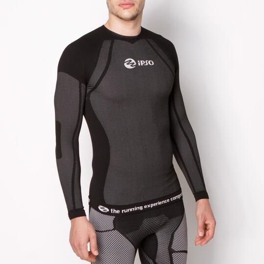Camiseta Compresión IPSO Negro Unisex Negro Blanco