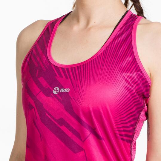Camiseta Running IPSO THUNDER Fucsia Negro Mujer