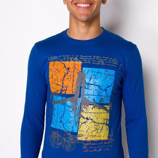 Camiseta Manga Larga UP STAMPS Azul Hombre