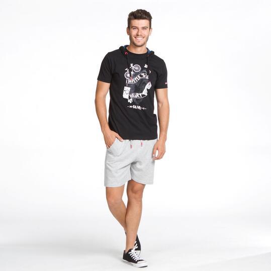 Camiseta Capucha SILVER Negro Hombre