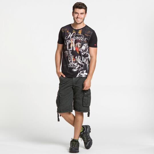 Camiseta Negra SILVER HIPSTERS Hombre