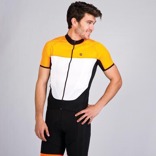 SPIUK Maillot Ciclista Manga Corta Blanco Naranja Hombre