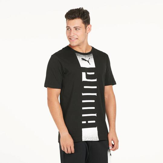 PUMA REBEL Camiseta Manga Corta Negro Hombre