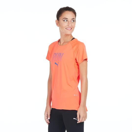 PUMA Camiseta Running Naranja Mujer