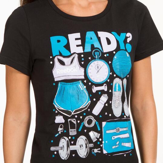 REEBOK Camiseta Negra Mujer