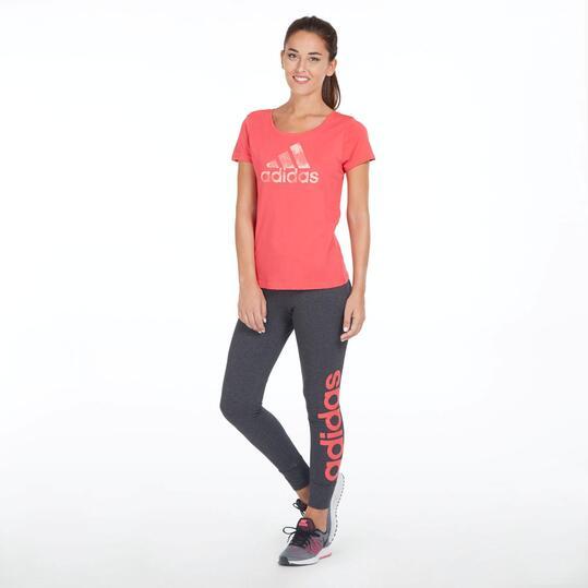 ADIDAS Camiseta Manga Corta Roja Mujer