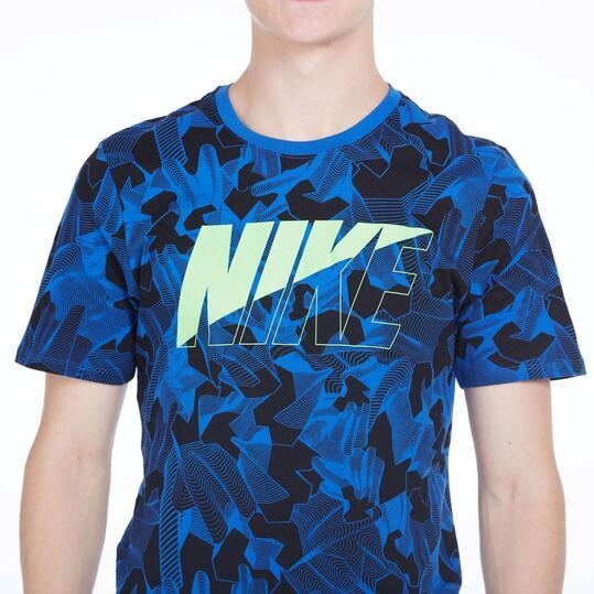 NIKE Camiseta Estampada Negro Azul Hombre