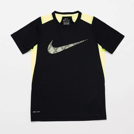 NIKE Camiseta Manga Corta Negra Amarillo Flúor Niño (10-16)