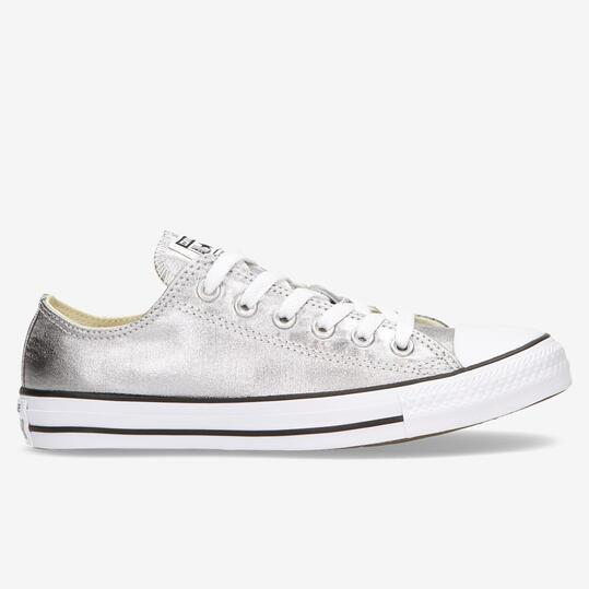zapatillas converse all star plateadas