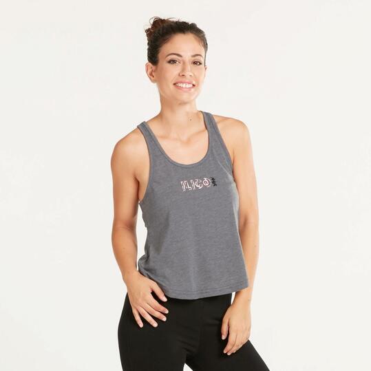 Camiseta Tirantes Gym ILICO ZEN Gris Mujer