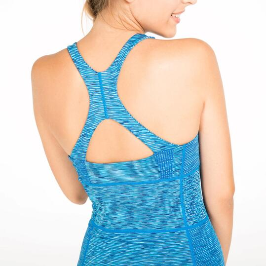Camiseta Tirantes Gym ILICO SEAMLESS Azul Mujer