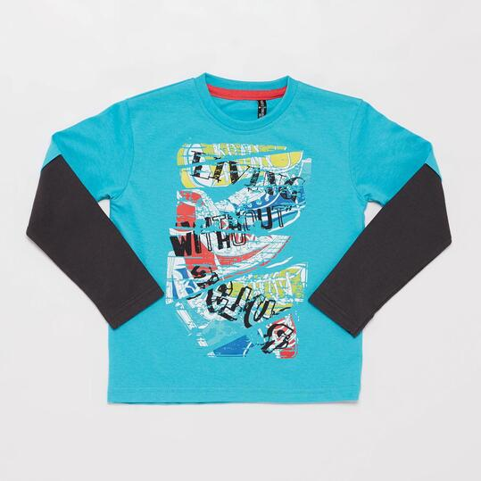 Camiseta Manga Doble SILVER CITY KID Turquesa Niño (2-8)