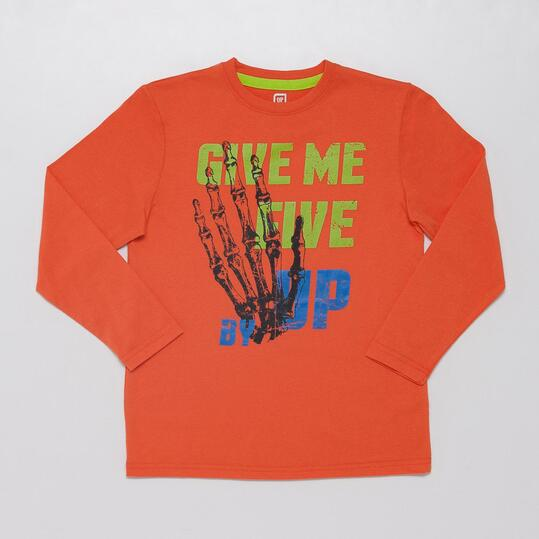 Camiseta Manga Larga UP STAMPS Naranja Niño (10-16)