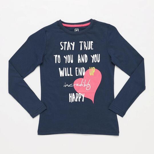 Camiseta Manga Larga UP STAMPS Corazón Marino Niña (10-16)