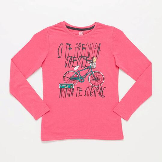Camiseta Manga Larga UP STAMPS Fucsia Niña (10-16)