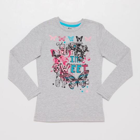 Camiseta Manga Larga UP STAMPS Gris Niña (10-16)