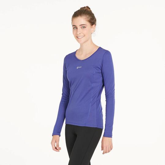 Camiseta Manga Larga Running IPSO BASIC Azul Mujer