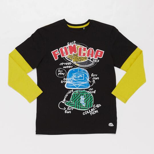 Camiseta Manga Larga URBAN SILVER Negro Niño (10-16)