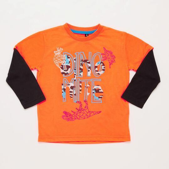 Camiseta SILVER DINOS Naranja Niño (2-8)
