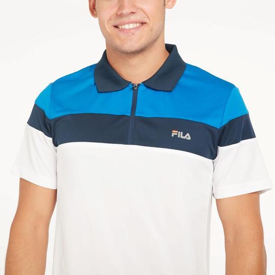 FILA Polo Manga Corta Tenis Azul Blanco Hombre
