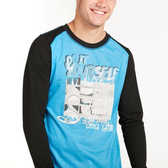Camiseta Manga Larga SILVER Azul Negra Hombre