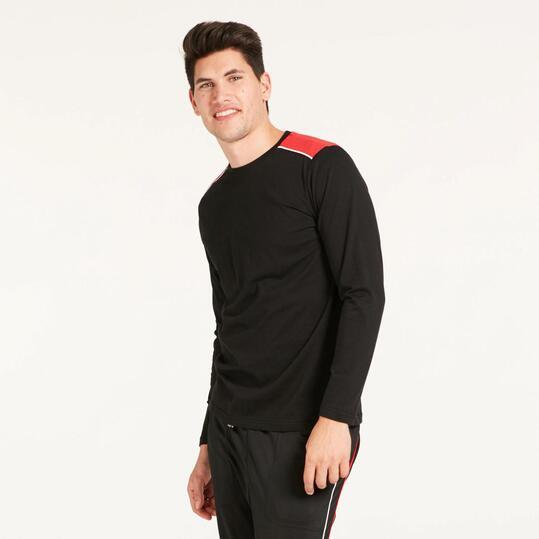 Camiseta Manga Larga SILVER BASIC Negro Rojo Hombre