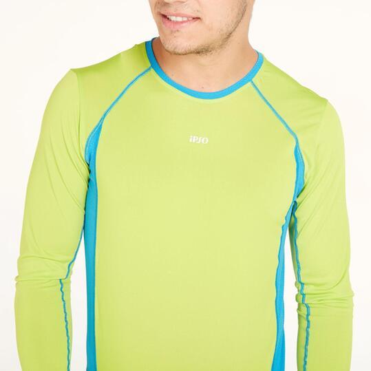 Camiseta Manga Larga Running IPSO COMBI Pistacho Azul Hombre