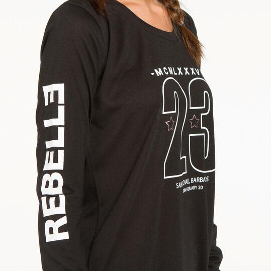 Camiseta Asimétrica SILVER REBELLE Negra Mujer