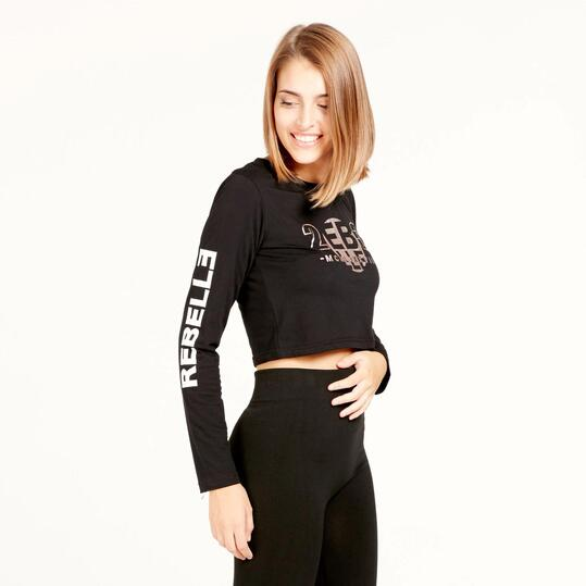 Crop Top SILVER REBELLE Negro Mujer