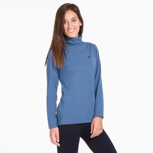 Camiseta Cuello Vuelto UP BASIC Azul Mujer
