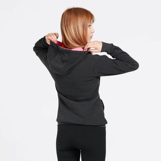 Sudadera Capucha UP BASIC Felpa Negro Rosa Mujer