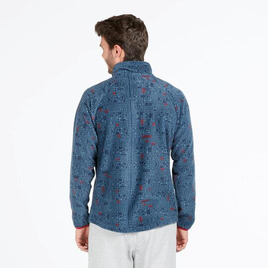 Forro Polar UP BASIC Cuello Zip Estampado Denim Rojo Hombre