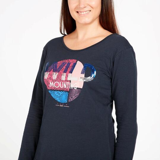 Camiseta Manga Larga SILVER Marino Talla Grande Mujer